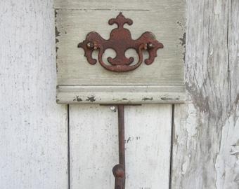 Wall Hook Coat Rack wood Vintage Hardware Foyer Mudroom Coat Rack Keys Storage