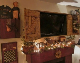 primitive, colonial, rustic tv cabinet