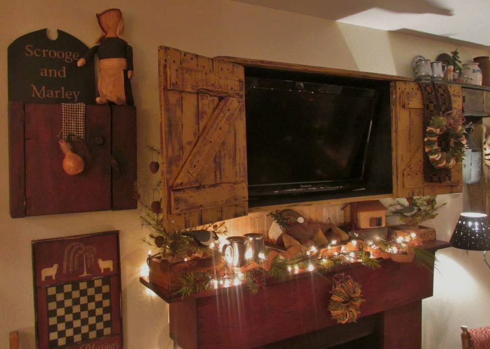 Primitive colonial rustic tv cabinet by salmonfallsprims for Tv in the kitchen ideas