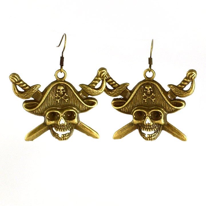 skull pirate earrings in bronze by glamour365 on etsy