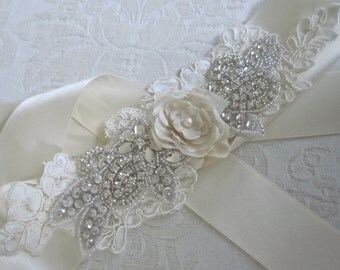 Beaded Bridal Crystal Wedding Sash/Belt with Lace and Flower