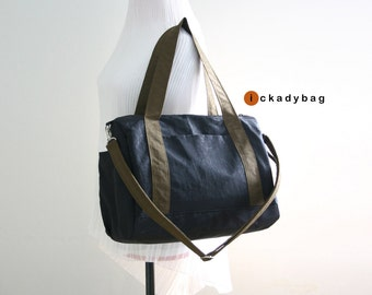 SALE - Black and Brown Messenger Tote Bag / Water-resistant Nylon / Mini Duffle / Handbag / Men / Unisex bag - Taylor