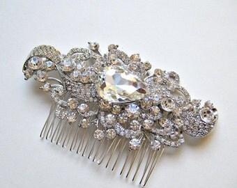 Bridal glam vintage swarovski crystal hair comb.  Rhinestone jewel wedding headpiece  SPLENDOR.