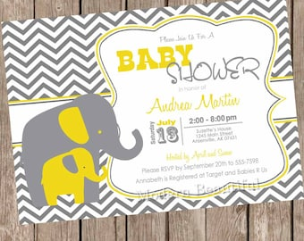 Yellow and Gray Elephant baby shower invitation, yellow, grey, elephant, chevron, printable invitation