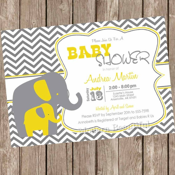 yellow and gray elephant baby shower invitation yellow grey,