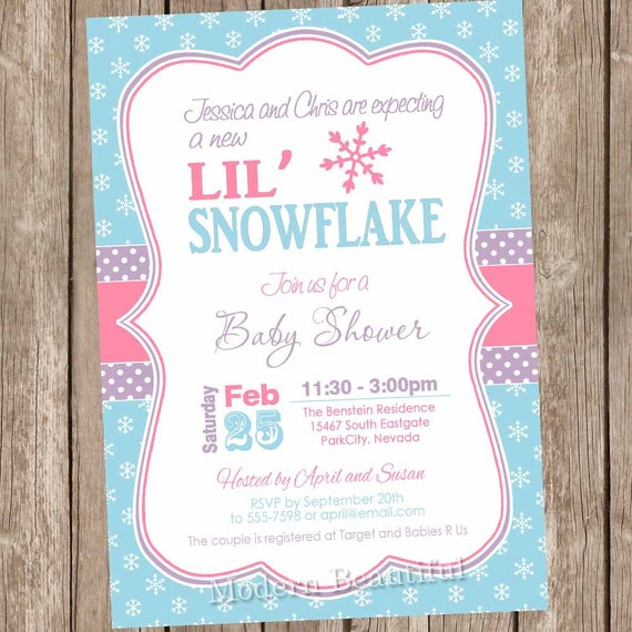 items similar to snowflake baby shower invitation winter baby shower