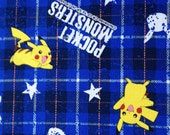 Pocket Monsters printed fabric Pokemon blue colour half yards