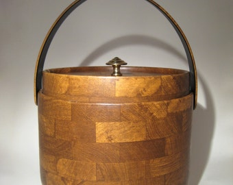 Vintage Insulated Ice Bucket - Faux Wood