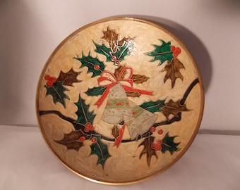 Vintage Brass Misteltoe Holiday Style Cloisonne Serving Bowl