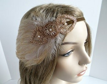 Champagne 1920s Hairband, Roaring 20s Dress Headpiece, Great Gatsby Headpiece, Flapper Headbands, Gatsby Headband, 1920s Wedding Headpiece