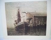 Vintage Art Print, R Doyle Lithograph Print, Nautical Scene, Fishing Boat Art Print, 22 1/2 inches by 20 inches