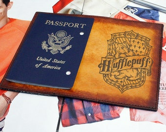 Passport Leather Cover - Hufflepuff - Customizable - Free Personalization