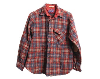Vintage pendleton lobo 100 pure virgin wool flannel shirt for Mens flannel shirt with elbow patches
