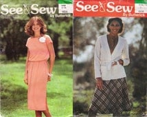 Butterick 6638 & 5825 Jacket Patterns Free Shipping Skirt Pullover Dress Pattern Size 16 -18  Uncut Sewing Patterns Craft Supplies YacketUSA