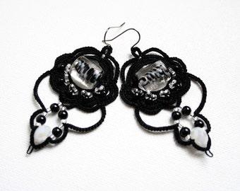 Black White Beaded Tatting Lace Chandelier Style Dangle Fiber Earrings
