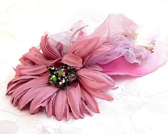 Beautiful Dahlia Flower Fascinator in hues of pink decorated with vintage flowers, fabrics & fun !