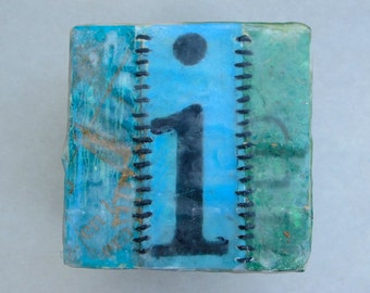 """Wall piece, letter """"I"""", wooden block"""