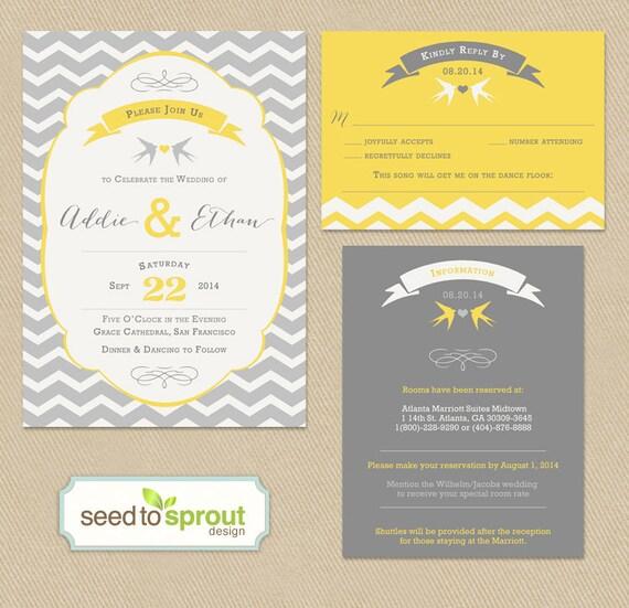 Wedding Invitation RSVP And Insert Card Set Printable
