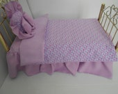 Bedding set ruffled Lavender  American Girl  or similar 18 inch size doll handmade