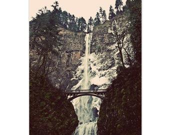 Multnomah Falls Photography, Oregon, waterfall, nature photo decor, cream, landscape decor, bathroom decor, room decor
