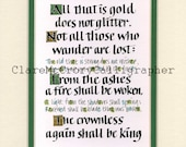 "Not all those who wander are lost Lord of the Rings Calligraphy Print, 8 x 10"" Tolkein print Word Art"