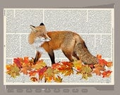 FOX in red and orange autumn in the woods ORIGINAL ARTWORK  printed on Repurposed Vintage Dictionary page -Upcycled Book Print