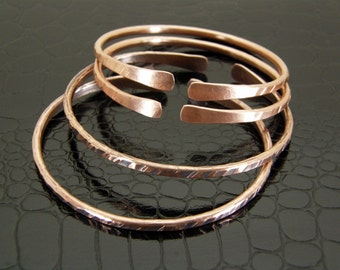 Copper Bracelet Textured, Stacking Bangle, Womens Bare Copper or Antiqued Patina Finish distressed Copper Bracelet