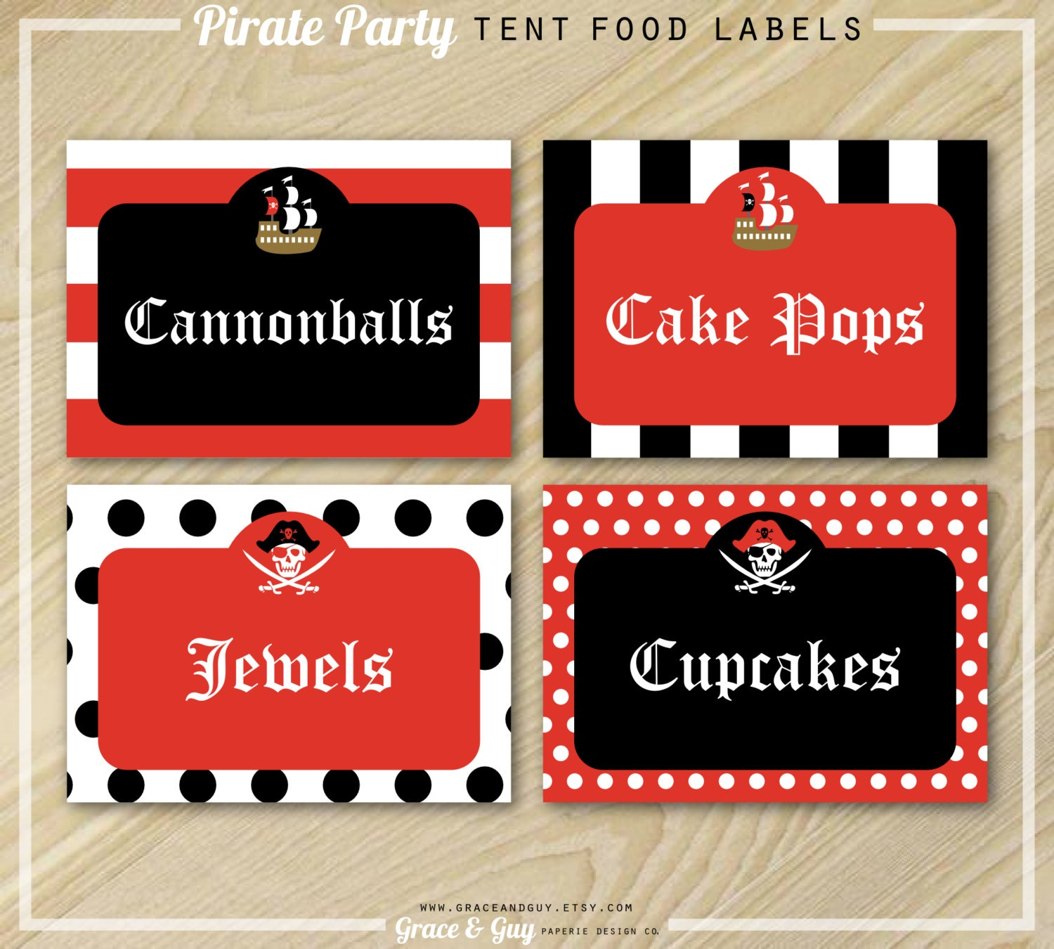 Pirate Party Pirate Party Food Labels Buffet Food Labels
