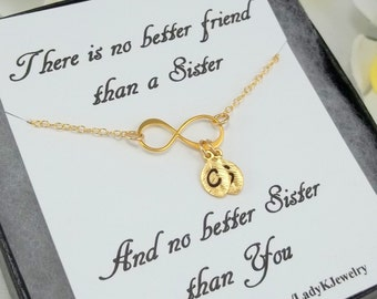 Special Sister Infinity Bracelet w/Engraved Initials on Leaf Charm -Jewelry Gift Box & Special Sisters Gift Card -14K Gold Infinity Bracelet