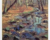 """Autumn Forest and Creek... Hand-Embellished Giclee Print... Signed 12.5x19"""""""