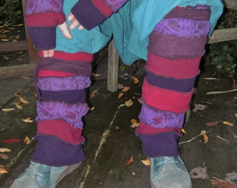 SET red purple fleece ADJUSTABLE long OR short leg warmers Gloves highs leggings pixie boots eclectic fantasy gypsy