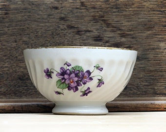 """antique  french  cafe au lait bowl ,country flowers, """"violettes"""", gold and white porcelain"""