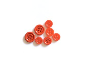 7 Coral Red Buttons, Vintage, Glass