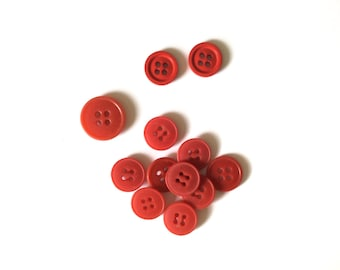 12 Red Flat Buttons, Flat Vintage Button, French Button