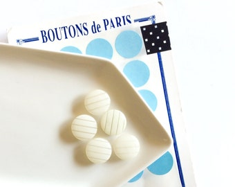 5 White Stripes French Buttons, White Buttons, Vintage, Shank