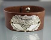 Angel Wing Leather Cuff, Sterling Silver Angel Wing Bracelet, Protection Bracelet, Bohemian, Leather Wristband, Eco Friendly Silver Bracelet