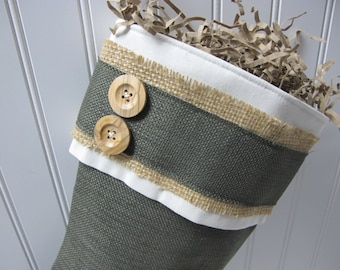 Natural Green Burlap Stocking with burlap accents and 2 buttons