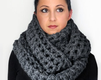 Scarf, Extra Wide Chunky Titanium Grey Oversized Infinity Scarf  For Men or Women, Winter Accessories