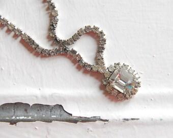 Rhinestone Necklace Vintage Rhinestones Perfect for Vintage Style Wedding Bright Rhinestone Necklace Gift For Mom