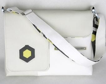SALE! Vegan Laptop Bag White and Cream, Vinyl Computer Bag