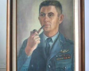 Contemplative MIlitary Officer Portrait:  Vintage Oil Painting
