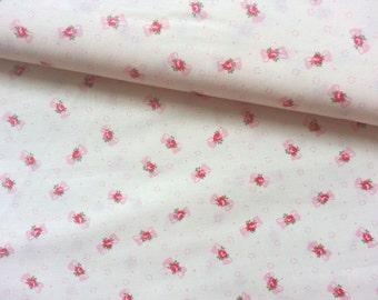 Japanese Fabric Cotton Yuwa - Rose Ribbon - a yard