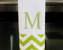 Monogrammed Kitchen Towel or Hand Towel in Chartreuse and White Chevron