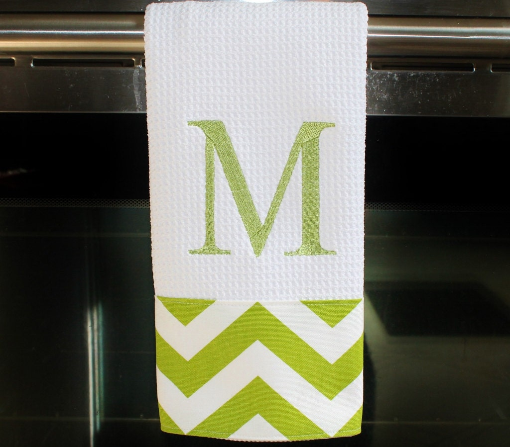 Monogrammed Kitchen Towel Or Hand Towel In Chartreuse Chevron