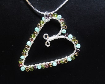 Mix Glass Bead Wire Wrapped Heart