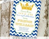 birthday party invitation royal celebration prince baby boy shower sprinkle sip and see baptism couples (item 266) shabby chic invitations