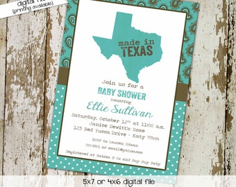 baby boy shower invitation made in texas paisley birthday polka ddot baby sprinkle little man (item 1227) shabby chic invitations