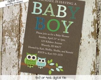 owl baby shower invitation owl first birthday baby boy invite Gender reveal invitation baby sprinkle bash (item 123) shabby chic invitations