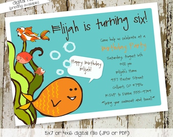 Birthday party invitation or baby shower, gold fish, digital, printable file (item 255)