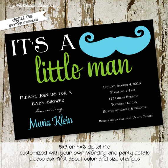 mustache baby shower invitation baby boy little man mustache bash gentleman birthday party christening (item 1274) shabby chic invitations